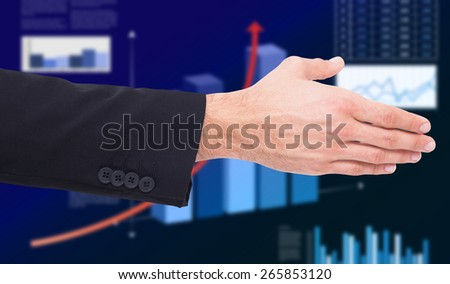 Close up of businessman offering handshake against business interface with graphs and data - stock photo