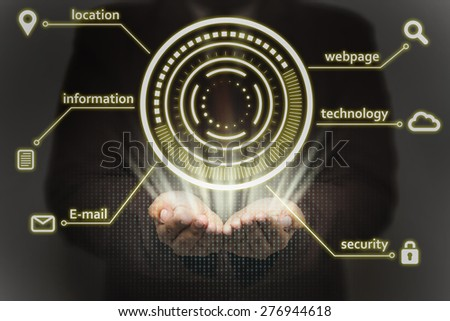 Close up of businessman person working with modern virtual technology.