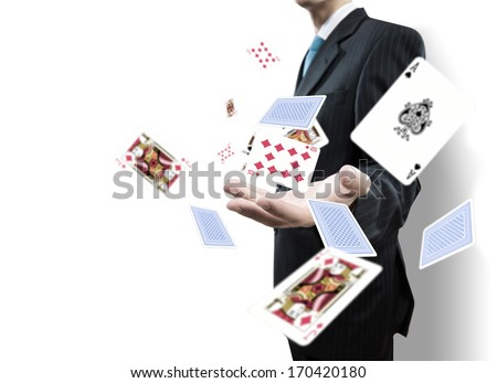 Close up of businessman throwing cards. Gambling concept - stock photo