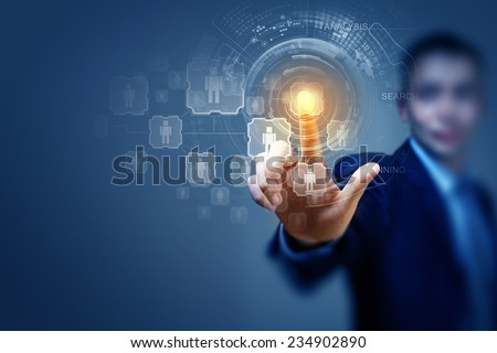 Close up of businessman touching icon of media screen - stock photo