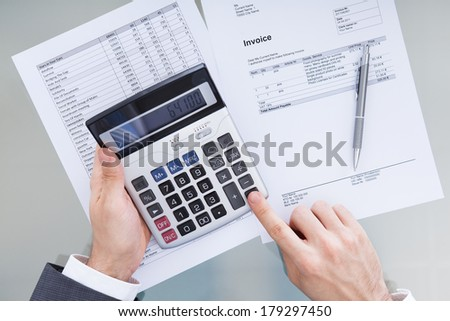 Close-up Of Businessperson Analyzing Financial Data  - stock photo
