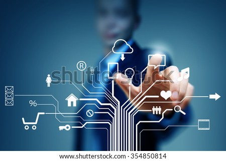 Close up of businessperson touching icon of cloud computing concept - stock photo