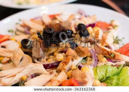 Close up of Caesar salad, Salad - stock photo