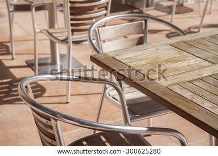 Close-up of Cafe Table and Chairs