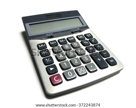 Close-up of calculator isolated on white background.