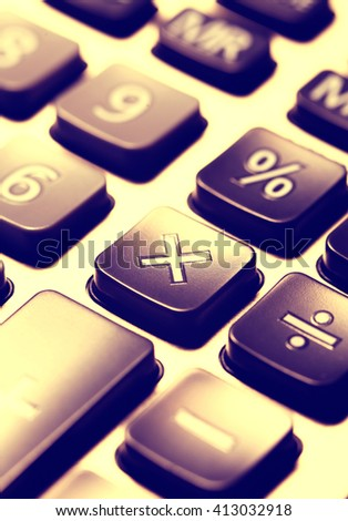 Close up of Calculator key pad buttons
