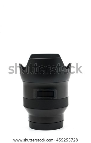 Close up of camera lens on a white background - stock photo