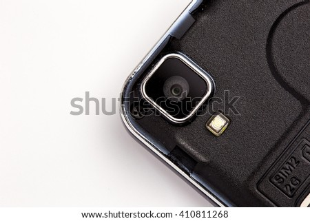 close up of camera of black smart phone