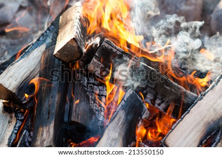 Close Up of Camping Fire - stock photo