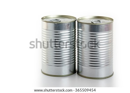 Close-up of cans on white background. - stock photo