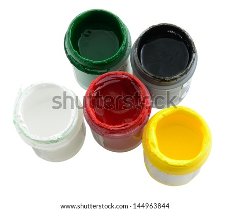 Close up of cans with colorful paint - stock photo