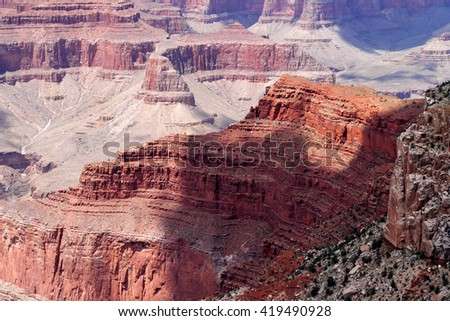 Close-up of canyon formations seen from South Rim trail, Grand Canyon - stock photo