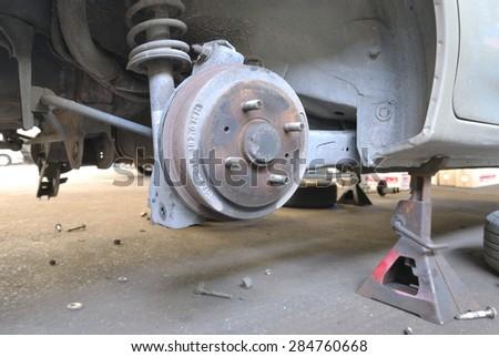 Close up of car drum brake - stock photo