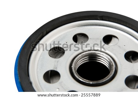 Close up of car or truck oil filter mounting surface. Clipping path on object. - stock photo
