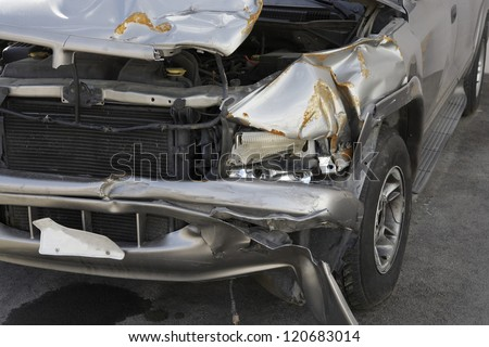 Close up of car smashed in accident