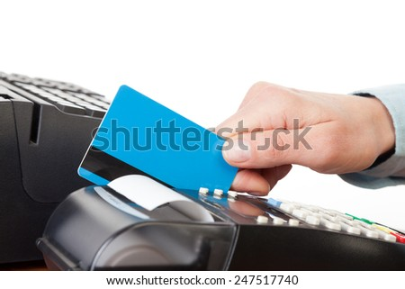 Close-up of cards servicing with POS-terminal - stock photo