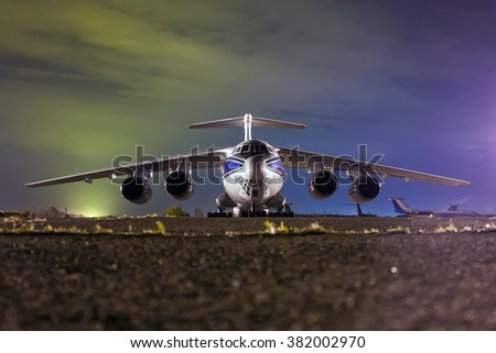 Close up of cargo airliner in the night - stock photo