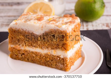 Close up of Carrot Cake. - stock photo