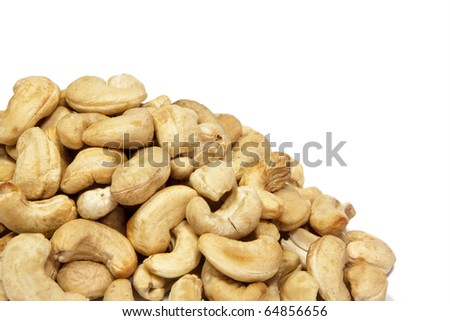 Close up of cashew nuts in white background.