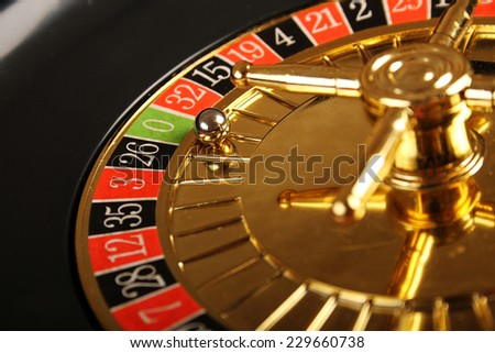 Close up of casino roulette Cales. Background
