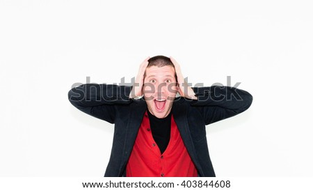 close up of caucasian angry businessman with hands in his hair isolated on white - stock photo