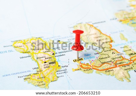 Close up of  Cesme  ,Turkey  map with red pin    - Travel concept - stock photo