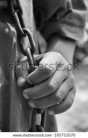 Close up of chained - stock photo