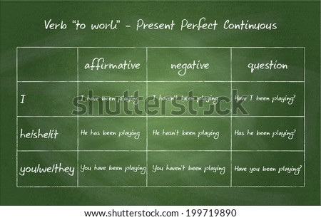 "Close up of chalkboard. English grammar - verb ""to work"" in Present Perfect Continuous Tense - stock photo"
