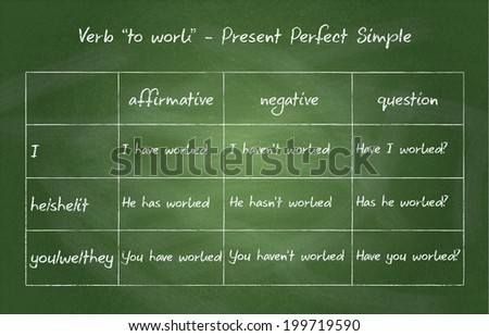 "Close up of chalkboard. English grammar - verb ""to work"" in Present Perfect Simple Tense - stock photo"