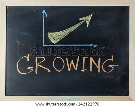 close up of chalkboard with finance business graph and growing topic - stock photo