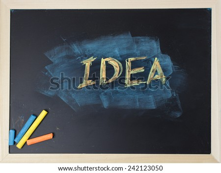close up of chalkboard with idea topic - stock photo