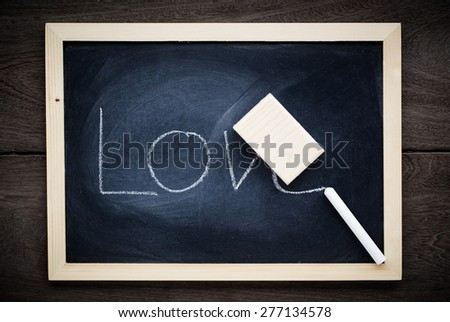 close up of chalkboard with text - stock photo
