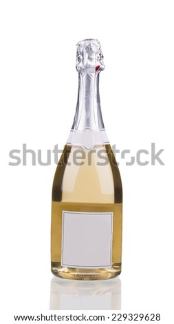 Close up of champagne bottle. Isolated on a white background.