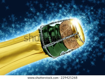 close up of champagne cork on blue background - stock photo