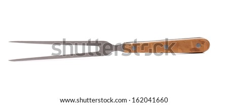 Close up of cheese fork. Isolated on a white background. - stock photo