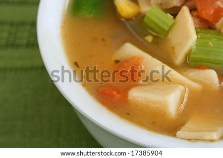 Close up of chicken and vegetable soup