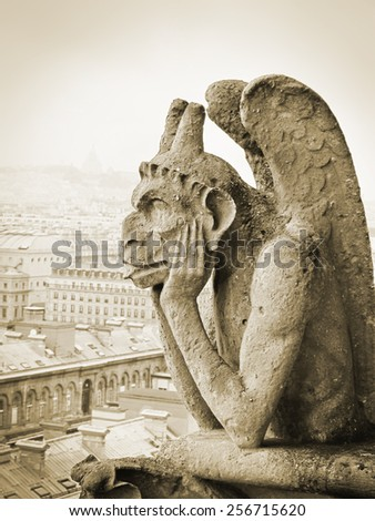 Close up of Chimera in Paris, France