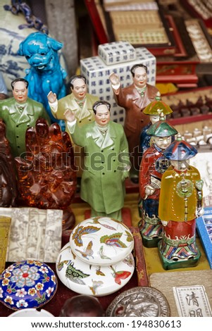 Close up of Chinese antiques for sale at Dongtai Rd market Shanghai