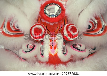 Close up of Chinese lion dance face. - stock photo