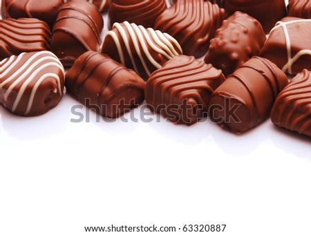close-up of chocolate bon bons - stock photo