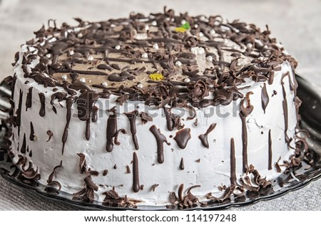 close up of chocolate cake with icing - stock photo