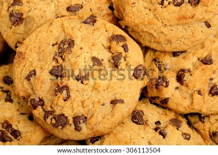 close up of chocolate chip cookies - stock photo