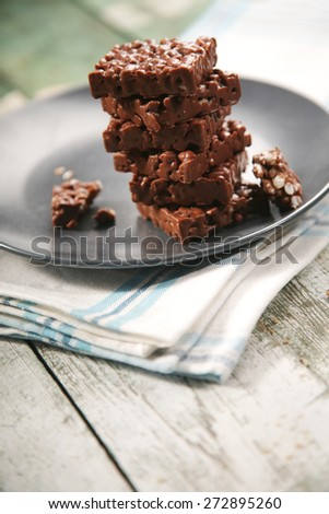 Close-up of chocolate cookies on plate - stock photo