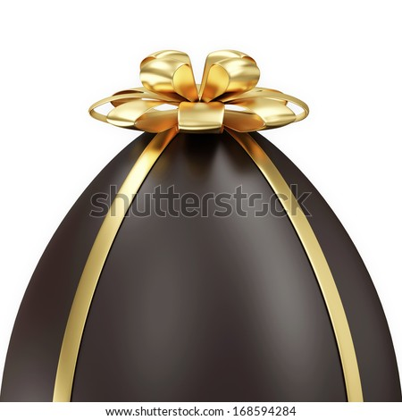 Close-up of Chocolate Easter Egg with Golden Bow isolated on white background
