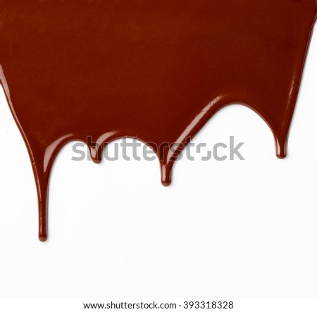 close up of chocolate syrup on white background - stock photo