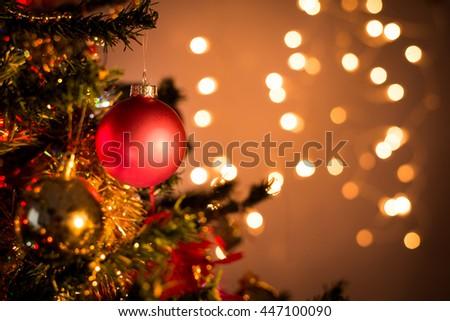 close up of christmas tree ornament balls decoration - stock photo