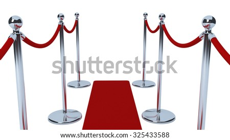 Close up of chrome VIP stanchions or entrance barrier with red velvet ropes and red carpet