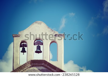 close up of church bells in vintage tone effect. - stock photo