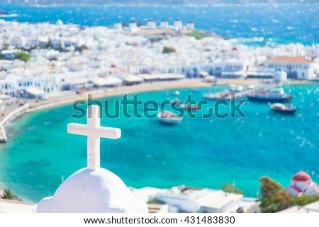 Close up of Church crose in Mykonos, Greece - stock photo