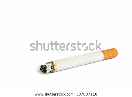 Close up of Cigarette isolated on white background.